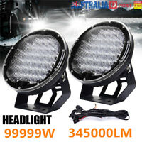 2x 9inch 99999 W Round LED Work Light Spot Flood Driving Headlight Offroad Truck