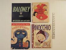 4-lot-Lane Smith-Baloney(Henry P)Scieszka-Happy Hocky Family-Squids-Pinocchio**