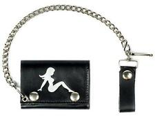 MUD FLAP GIRL TRIFOLD MOTORCYCLE BIKER WALLET W CHAIN mens #538 LEATHER NEW