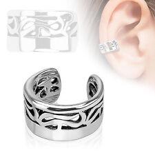 Tribal Design Rhodium Plated Brass Non Piercing Cartilage Ear Cuff Ring
