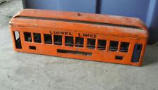 Pre-War Lionel Standard Gauge Orange Passenger Car Body with Window Inserts