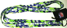 NFL SEATTLE SEAHAWKS CAMO DOUBLE SIDED LANYARD KEYCHAIN CLIP ID/BADGE HOLDER