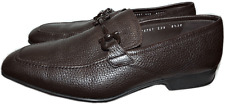 SALVATORE FERRAGAMO RIGEL Gancini Loafer Moccasin Grain Leather Shoes 8.5 2E