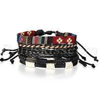 4pcs Fashion Handmade Retro Multilayer Leather Bracelet Cuff Wrap Set Adjustable