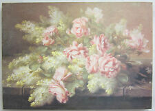 70cm Flower Print French Provincial Country Cream & Pink Roses Yellow Flowers