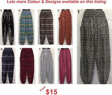 Ladies Harem Genie Gypsy Boho Yoga Printed Pants sizes 8 10 12 14 16 18 20 22 24