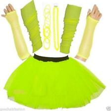 NEW WOMEN'S NEON TUTU SKIRT HEN PARTY 80S FANCY DRESS ACCESSORIES BANGLES YELLOW