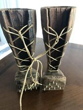 vintage Folk Art Hand Carved Wood Logging Boot pair Figurine tree topper country