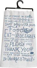 Primitives By Kathy Flour Sack Kitchen Dish Towel ~ Table Manners ~