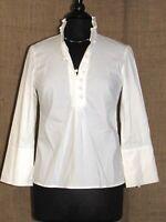 ROBERT RODRIGUEZ White Cotton 3/4 Sleeve Shirt Top SZ 8