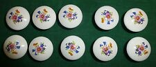 10 Wildflower Round White China Cabinet Door Drawer Pull Knobs New Old Stock NOS