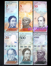 6pcs Venezuela banknotes different (2 - 1000 Bolivares) Collections Uncirculated