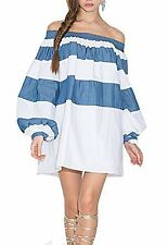 Vintage Womens Off Shoulder Jeans Ruffles T-shirt Casual Beach Denim Mini Dress
