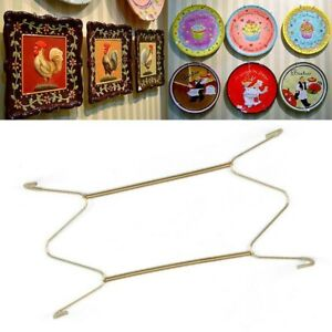 Stainless Steel Dish Holder Wall Plate Display Hook Tools Gold Wall Decor