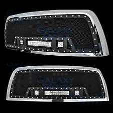 10-17 Dodge RAM 2500/3500 Rivet Black SS Mesh Grille+Chrome Shell+ w/LED Lights