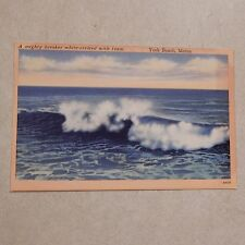 Vintage Postcard A Mighty Breaker White Crested With Foam, York Beach, Maine