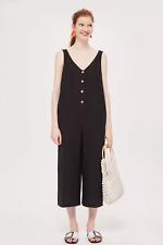 Topshop Button Slouch Linen/Cotton Jumpsuit Black Size 6 New