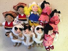 SET OF 9 Disneyland  IT'S A SMALL WORLD Plush Bean Bag Beanies with Tags