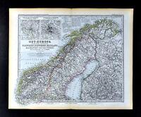 1892 Petermann Map Scandinavia Norway Sweden Finland Stockholm Baltic Stieler
