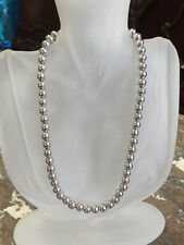 """Italy Milor Sterling Silver 8mm Ball Bead Beaded Necklace 18"""""""