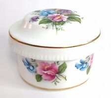 Trinket Box Vntg Sheer Elegance Fine English Bone China Purple Blue Pink Flowers