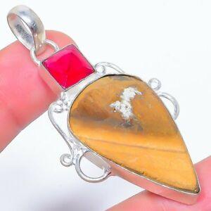 "Picture Jasper & Ruby 925 Sterling Silver Jewelry Pendant 2.4"" S2744"