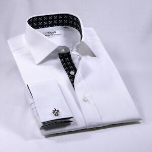 Black Italian Fleur-De-Lis White Men's Dress Shirt Herringbone Twill Sexy Floral