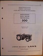 John DEERE LANZ diesel remorqueur 500 catalogue de pièces de rechange