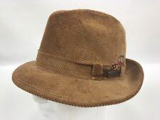 Vintage ADAM NEW YORK Corduroy MENS Medium 7 7 1 8 Fedora Feather Hat 0ab6faafb72