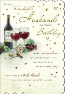 """To My Wonderful Husband on Your Birthday Card. Large 9"""" x 6""""."""