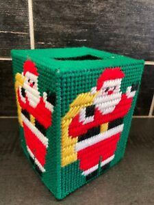 Vtg Needlepoint Christmas Kleenex Tissue Box Cover Hand Made Santa FLAW