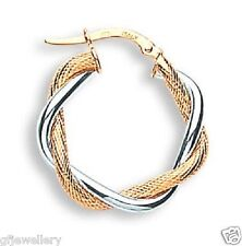 HALLMARKED 9CT WHITE & YELLOW GOLD TWIST TEXTURED 20MM ROUND HOOP EARRINGS