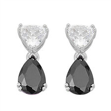Black Cz Teardrop Dangle   .925 Sterling Silver Earrings