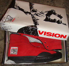 VISION STREET WEAR Suede '80s Skateboard Shoes Red Hi Tops - Size 3 UK / 4 USA