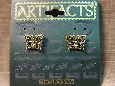 """""""JJ"""" Jonette Jewelry Antique Gold Pewter 'Lace BUTTERFLY' Post Earrings"""