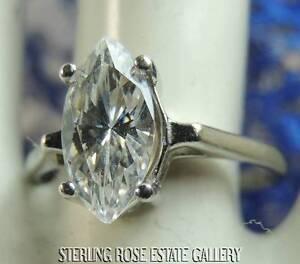 11 x 6 mm DIAMONIQUE CUBIC ZIRCONIA STERLING SILVER ESTATE Engagement Ring sz 8