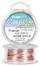 Rose Gold 18GA Round Craft Wire Jewelry Beading Wrapping Jump Rings 4 Yds