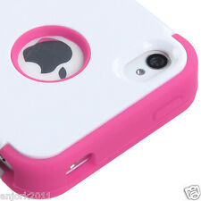 Apple iPhone 4 4S Hybrid T Armor Snap-On Case Skin Cover White Hot Pink