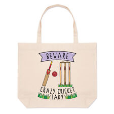 Beware Crazy Cricket Lady Large Beach Tote Bag - Funny Sport