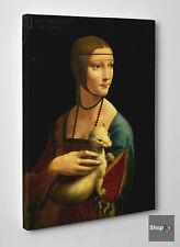 🎨 Leonardo da Vinci La Dama con L'Ermellino Stampa su Tela Vernice Pennellate🖌