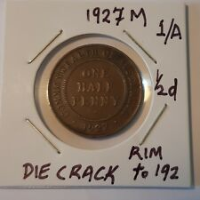 1927M 1/A AUSTRALIAN HALF PENNY -1920s, DIE CRACK Bronze (N6--3)
