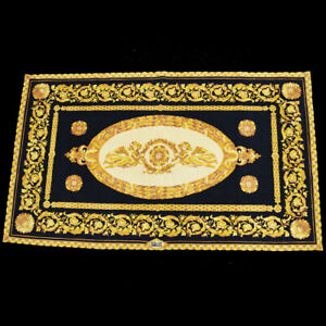 Authentic GIANNI VERSACE Rug Carpet Hand Knotted Wool Silk Black 88EQ776