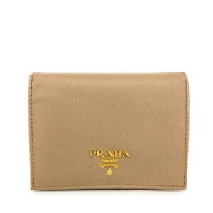 PRADA Saffiano Beige Leather Biifold Wallet Purse /B0158