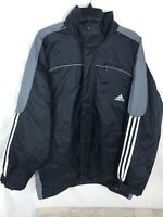 Vintage Adidas Winter Coat Jacket Men's Size Large Black And Gray Hooded