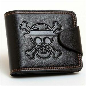 Mens Buttom Wallet Boys Teens Card Organizer with Skull Faux Leather