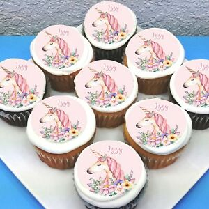 """Unicorn Edible Icing Cupcake Toppers - 2""""  - PRE-CUT - Sheet of 15"""