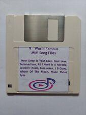 9 X World Famous MIDI Songs Files on  3.5 2DD Floppy Disk