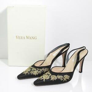 FINE VERA WANG GOLD FLORAL BEAD EMBROIDERY BLACK LACY SILK SLINGBACKS SIZE US 10