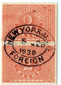 COLOMBIA - USA - SCADTA - 2p PAIR - NEW YORK CANCEL - Sc C77 - 1929 RRR