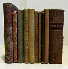 Children's antique 10 book collection 1850-60's Illustrated gilt cloth plates